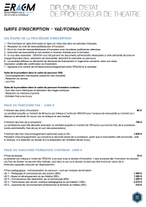 Tarifs - Formation/VAE
