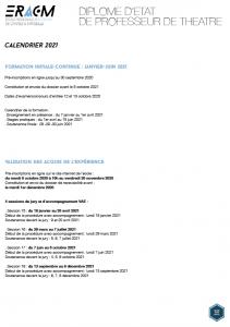 Calendrier DE - ERACM 2021