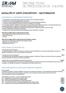 Modalités et tarifs - VAE/Formation